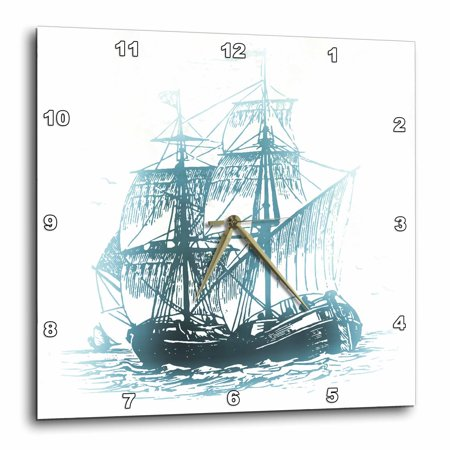 Clocks Go Back On Halloween (3dRose Pirate Ship On the Ocean - Halloween Art, Wall Clock, 10 by)