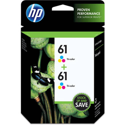 HP 61 Tri-color Original Ink Cartridges, Twin Pack (CZ074FN)