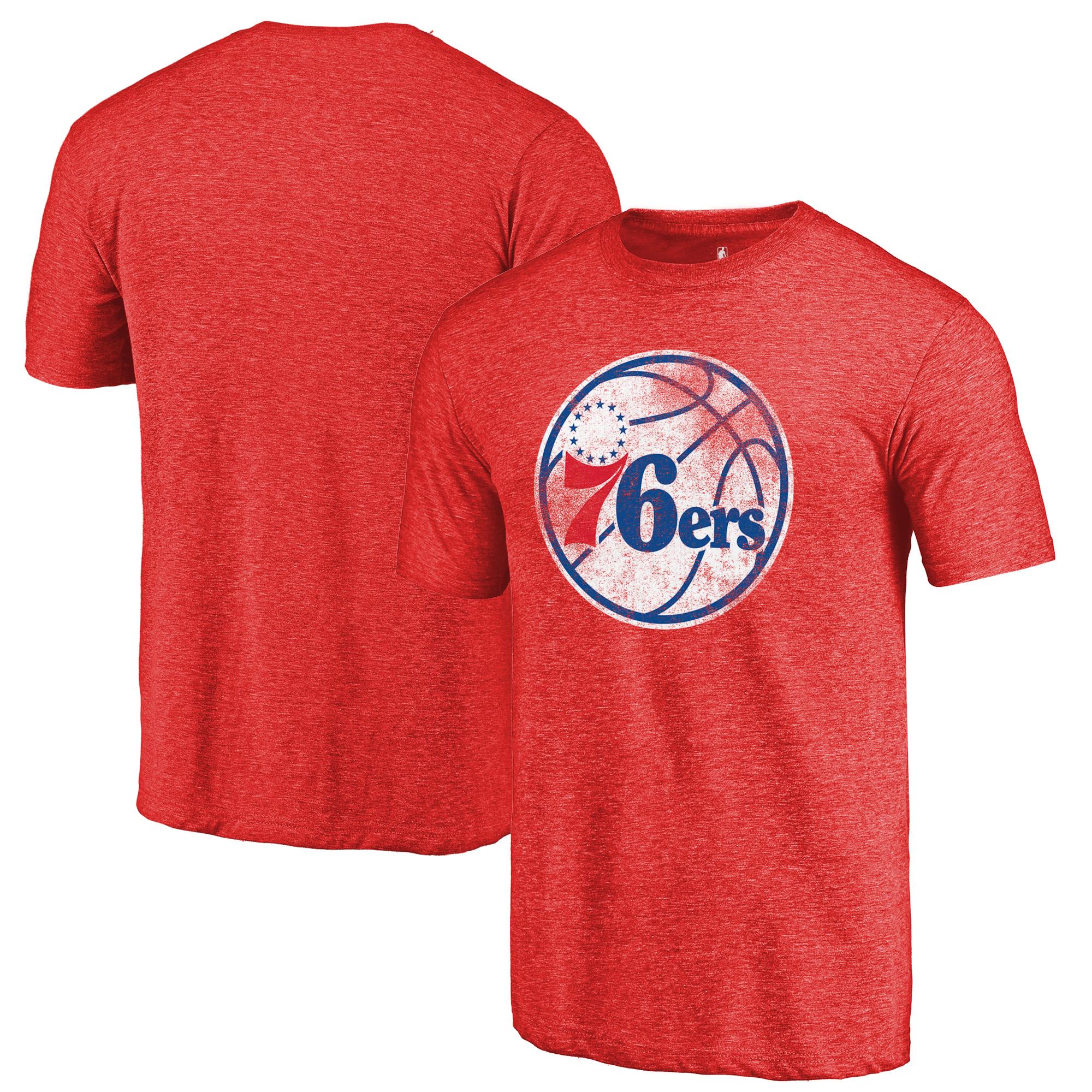 Philadelphia 76ers Fanatics Branded Distressed Logo Tri-Blend T-Shirt - Red