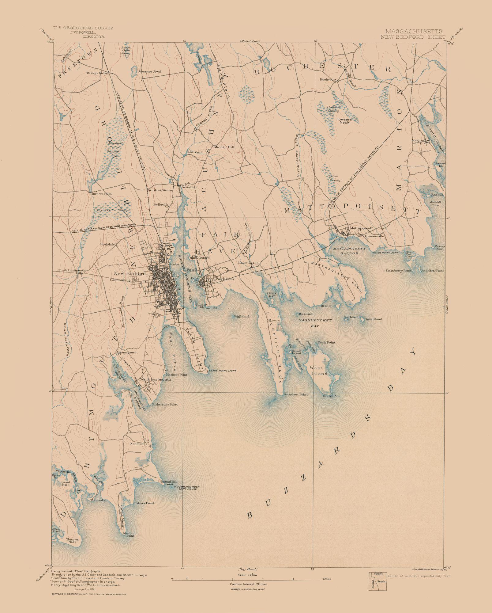Topographic Map Massachusetts.Topographic Map New Bedford Massachusetts Sheet Usgs 1893 23 X