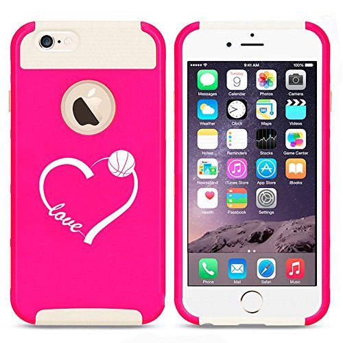 Apple iPhone 5 5s Shockproof Impact Hard Case Cover Love Heart Basketball (Hot Pink-White),MIP