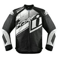 Icon Hypersport Prime Hero Mens Leather Jacket White/Black