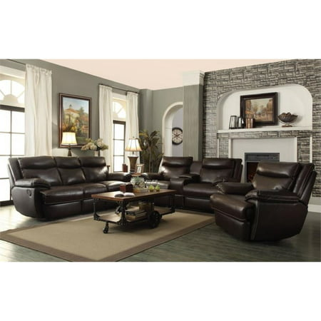 Coaster Macpherson 3 Piece Leather Reclining Sofa Set in Brown