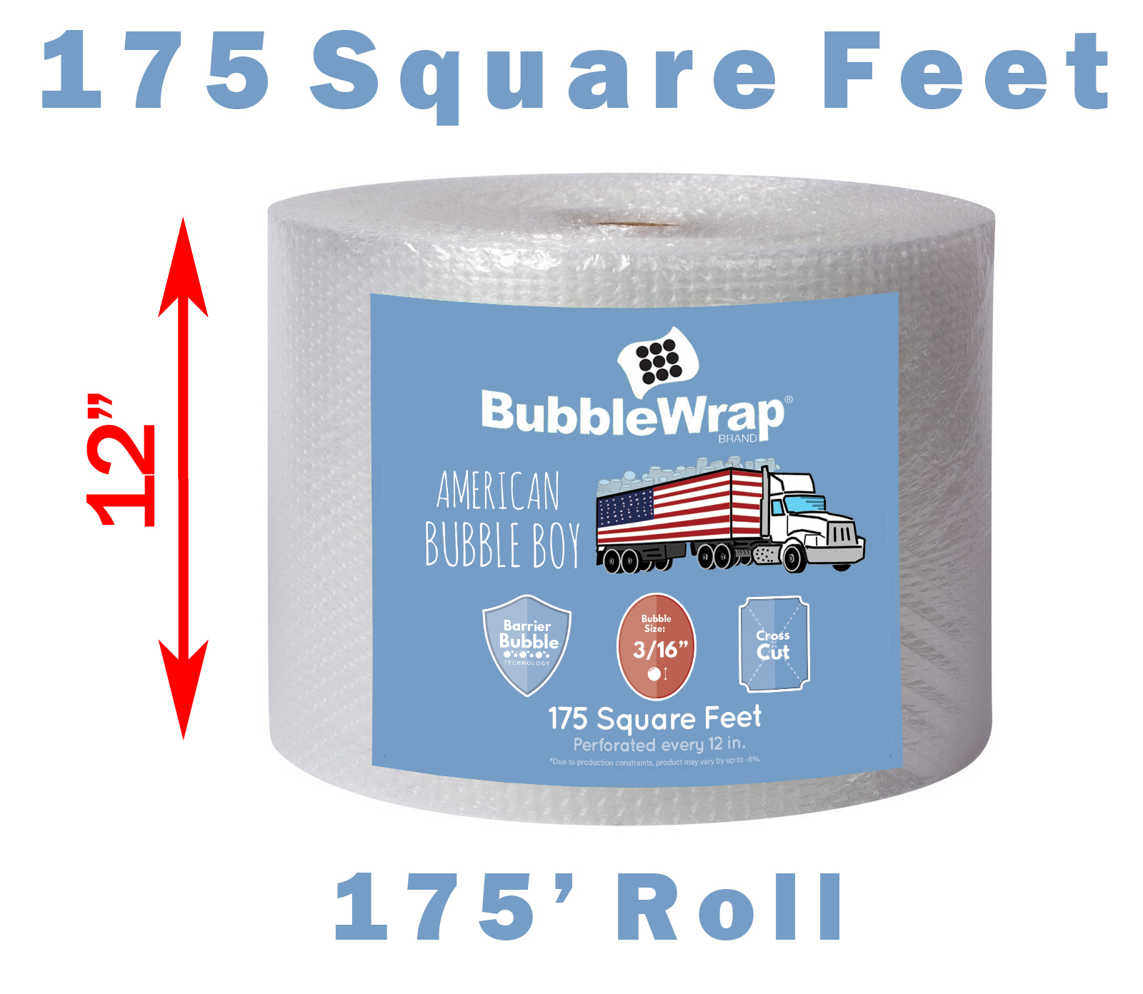 American Bubble Boy Bubble Wrap Official Sealed Air Bubble Wrap 175 Feet X 3//16 X 12 Perforated Every 12 American Bubble Boy