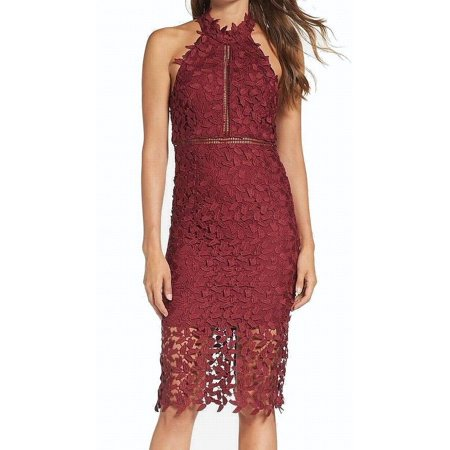 Bardot Dresses Bardot Red Womens Medium Halter Neck Lace Sheath Dress 119 Walmartcom