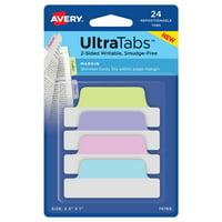 "Ultra Tabs, 2.5"" x 1"", 24 Margin Tabs, Assorted Pastel"