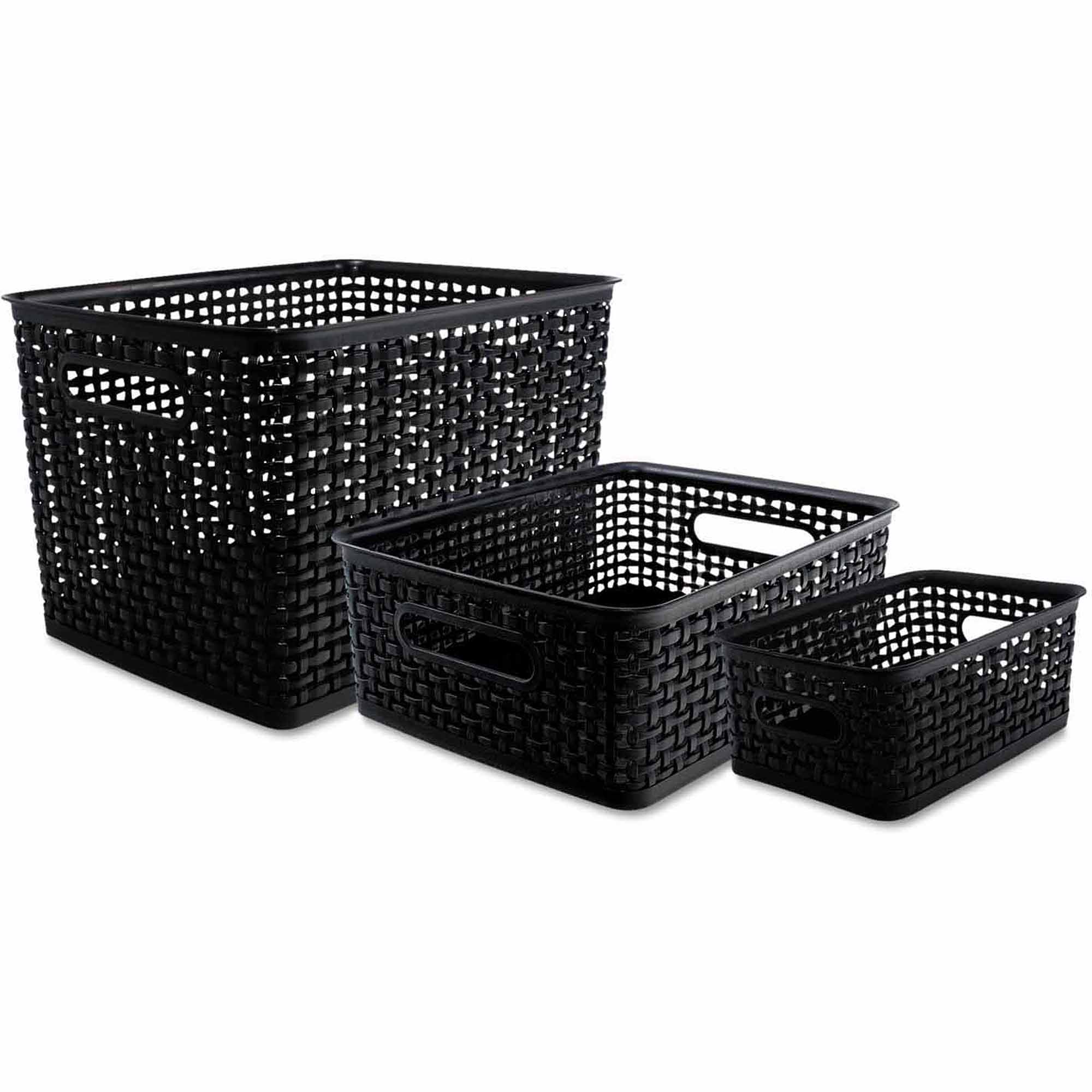 Advantus Weave Bins, Black, 3 Bins