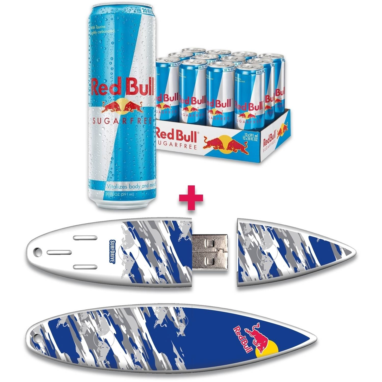 Red Bull 12-Pack 20-Ounce Sugar Free Energy Drink and 16GB Blue Camo USB SurfDrive