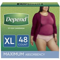 Depend Fit-Flex Incontinence Underwear for Women, Maximum Absorbency, Extra-Large, Light Pink, 48 Count (2 Packs of 24)