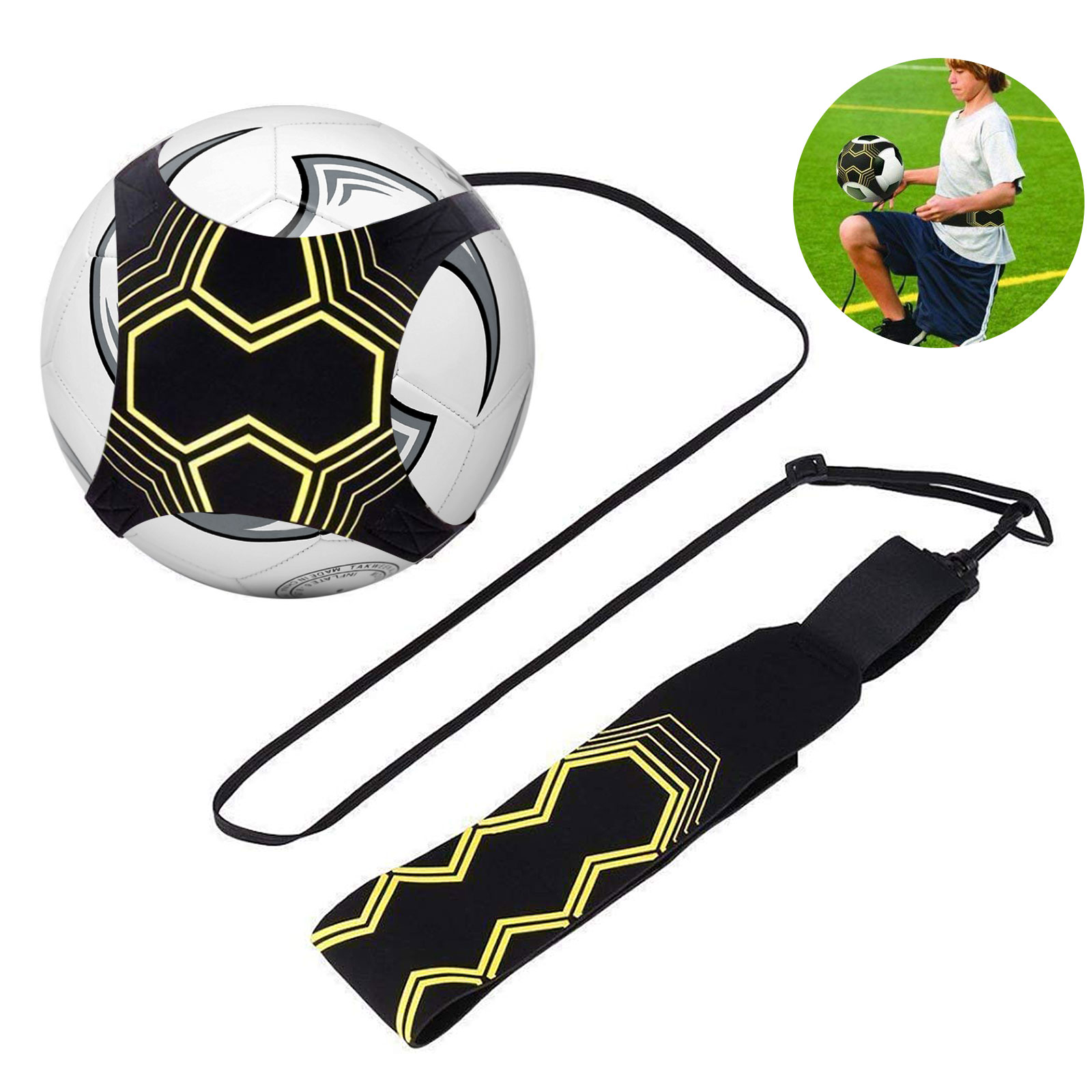 Football Soccer Waist Belt Skill Training Solo Tool Kick Ball Trainer FT