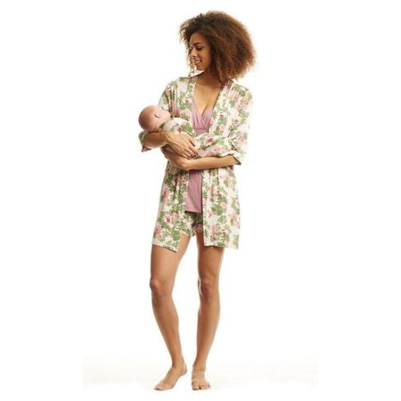 Everly Grey Adalia Mommy & Me 5-Piece PJ Set-Beige Floral -  L - Matching Mommy And Baby Pajamas