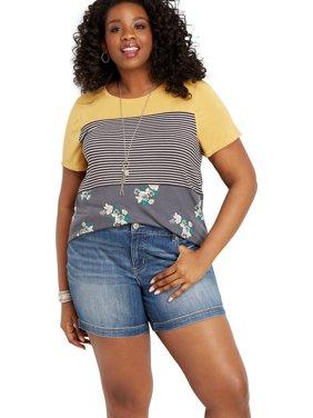 "f7739c60b8f Product Image Maurices Women s DenimFlex Denim Shorts - Plus Size Medium  Wide 6"" Hem"