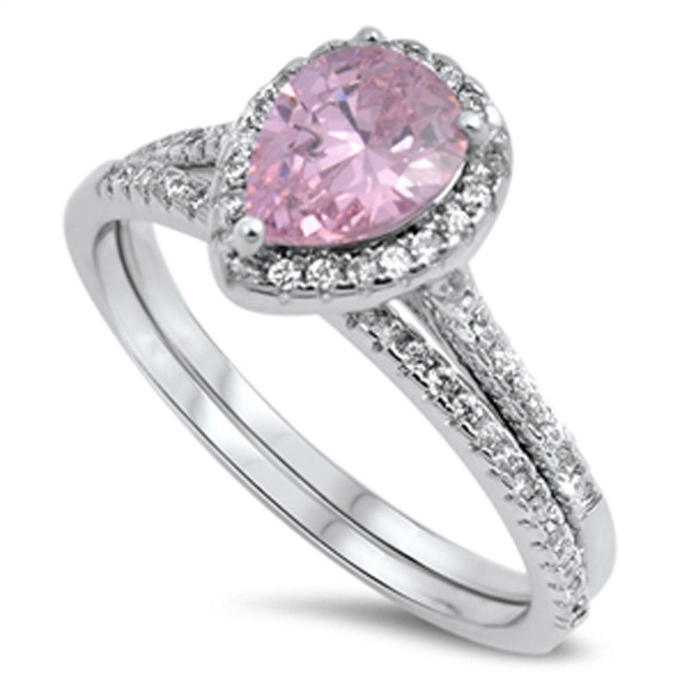 pink cz s halo wedding ring sizes 5 6 7 8 9 10