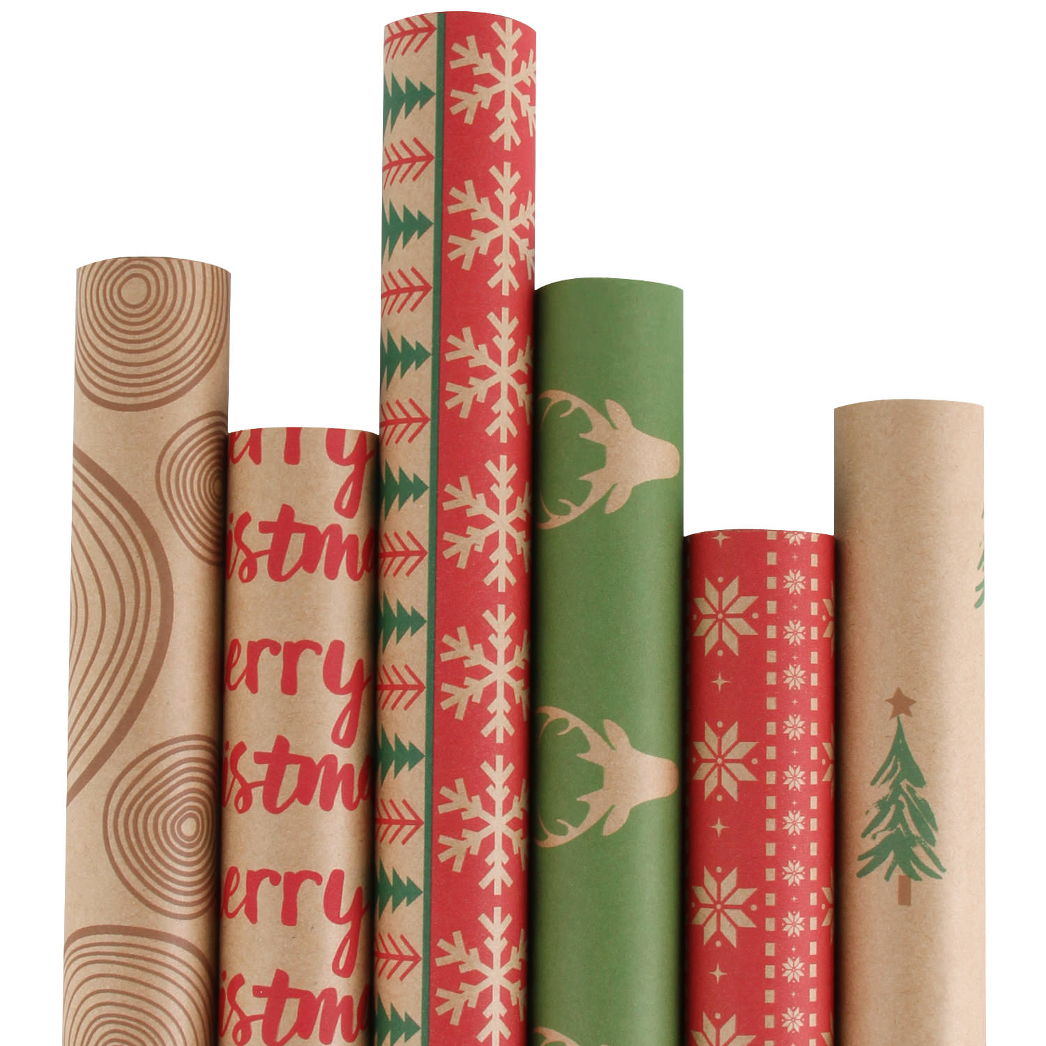 """Ruspepa Christmas Gift Wrapping Paper - Kraft Christmas Elements Collection 6 Rolls - 30"""" x 10'/Roll"""