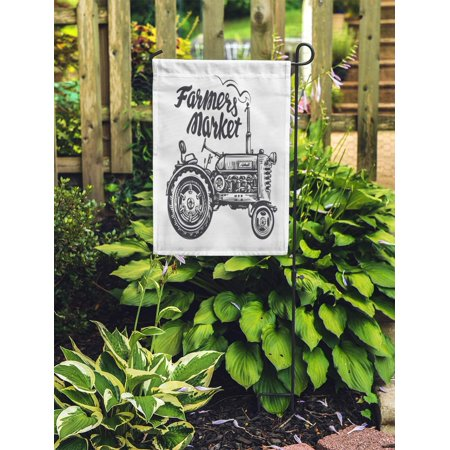 JSDART Drawing Vintage Agricultural Tractor Sketch Farmers Market Lettering Technology Agribusiness Garden Flag Decorative Flag House Banner 12x18 inch - image 2 of 2