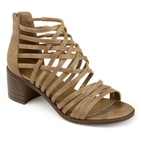 Womens Faux Leather Caged Criss-cross Heeled -
