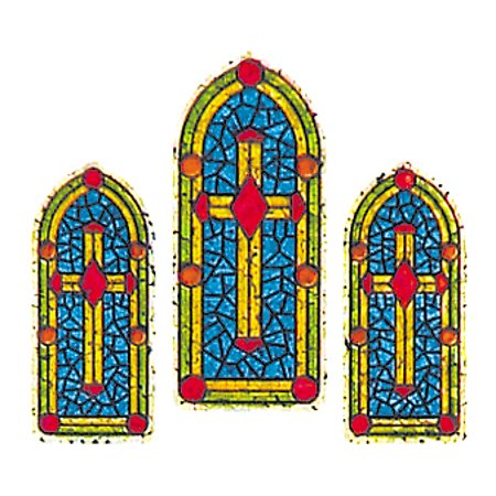 Bulk Roll Prismatic Stickers, Stained Glass Windows (100 Repeats)](Stained Glass Stickers)
