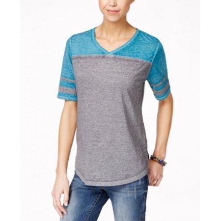 Pink Rose Junior's V-Neck  High-Low T-Shirt Size S Gray/Southwest Jade (Rome Jade Gate)
