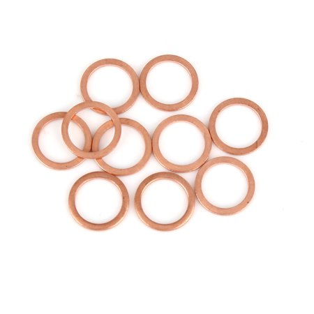 10pcs Copper Crush Washer Flat Sealing Gasket Ring Spacer for Car 12 x 16 x 1.5mm