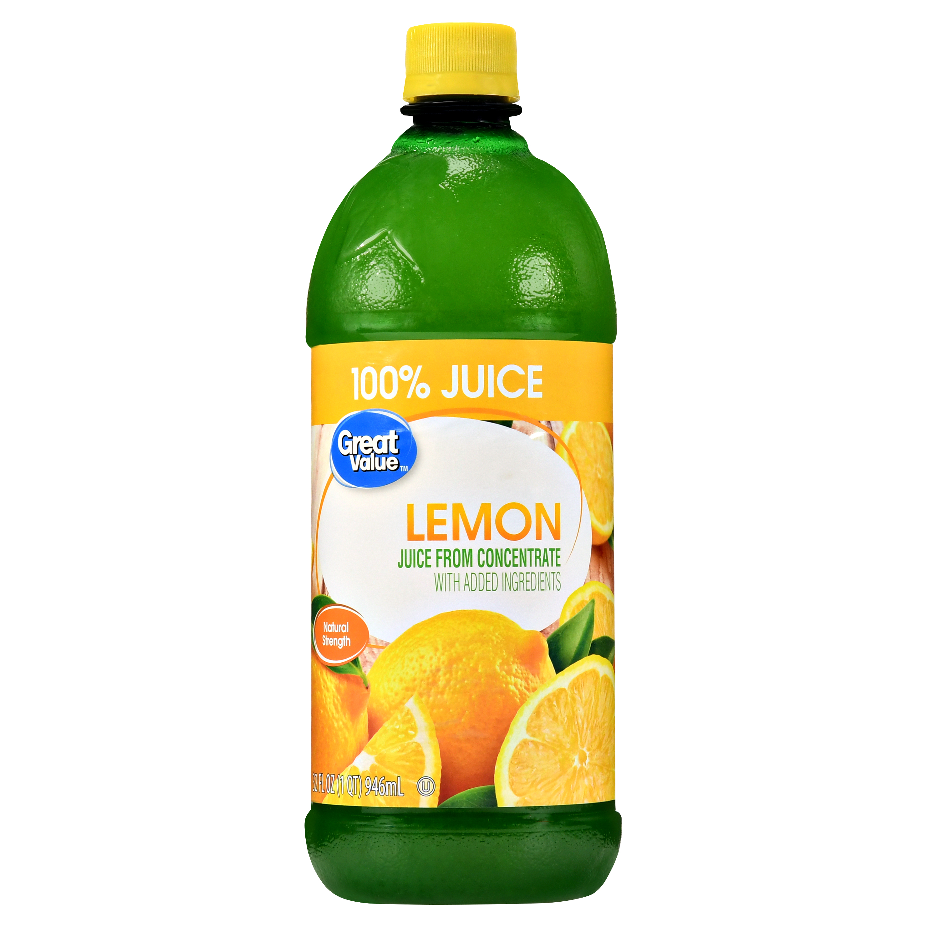 (9 Pack) Great Value 100% Juice, Lemon, 32 Fl Oz, 1 Count