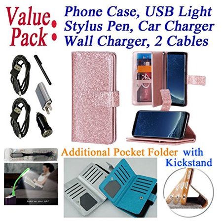Value Pack Cables   For 5 8   Samsung Galaxy S8 G950 Case Wallet Phone Case Glitter Folder Extra Pocket Kick Stand Hybrid Pouch Purse Screen Flip Cover Rose
