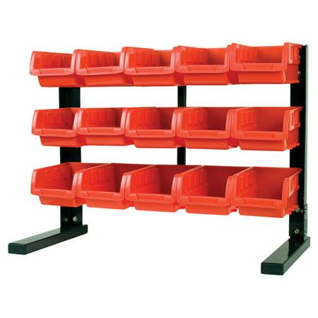 MaxWorks 80695 Bench/ Table Top 15-Bin Parts Rack (Top Rock)