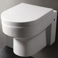 Round Modern Wall Mount Dual Flush Toilet White
