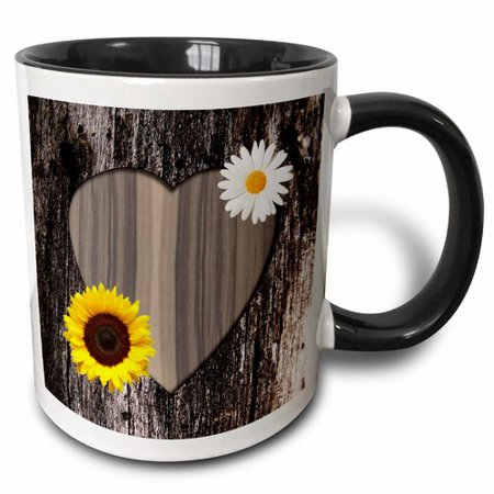 3dRose Wood Image Heart with Sunflower and Daisy - Two Tone Black Mug, 11-ounce