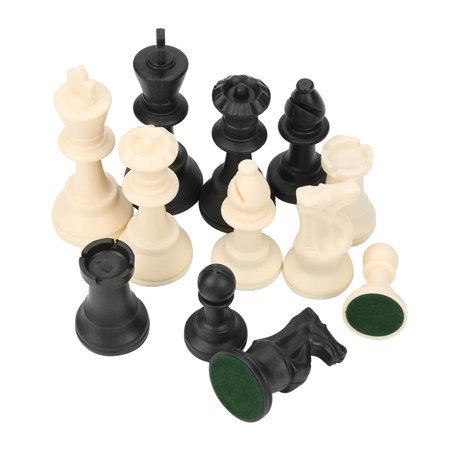 Ejoyous Plastic International Chess Pieces Standard Tournament Chessmen Black&White with Bottom Lint, Standard Chess Pieces, Plastic Chess Pieces ()