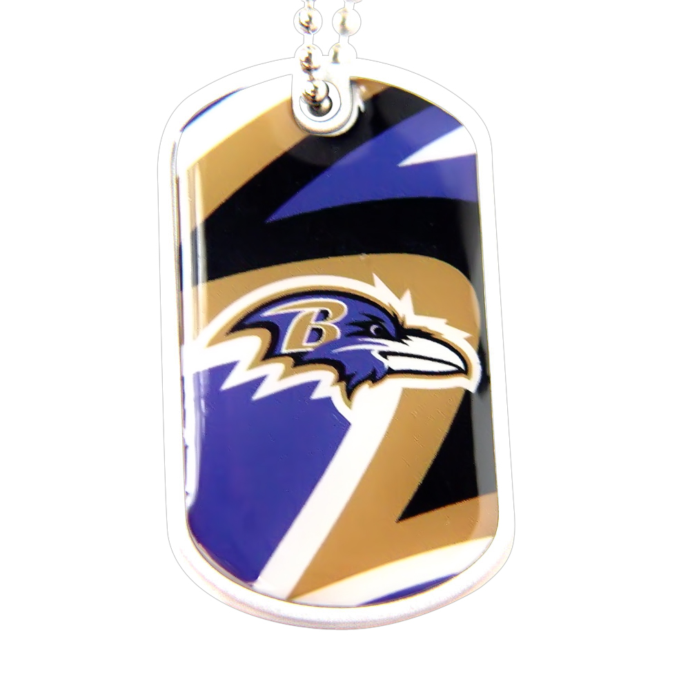Baltimore Ravens NFL Sports Fans Team Logo Pet Dog Tag ID Domed Necklace Neck Tag Charm Chain