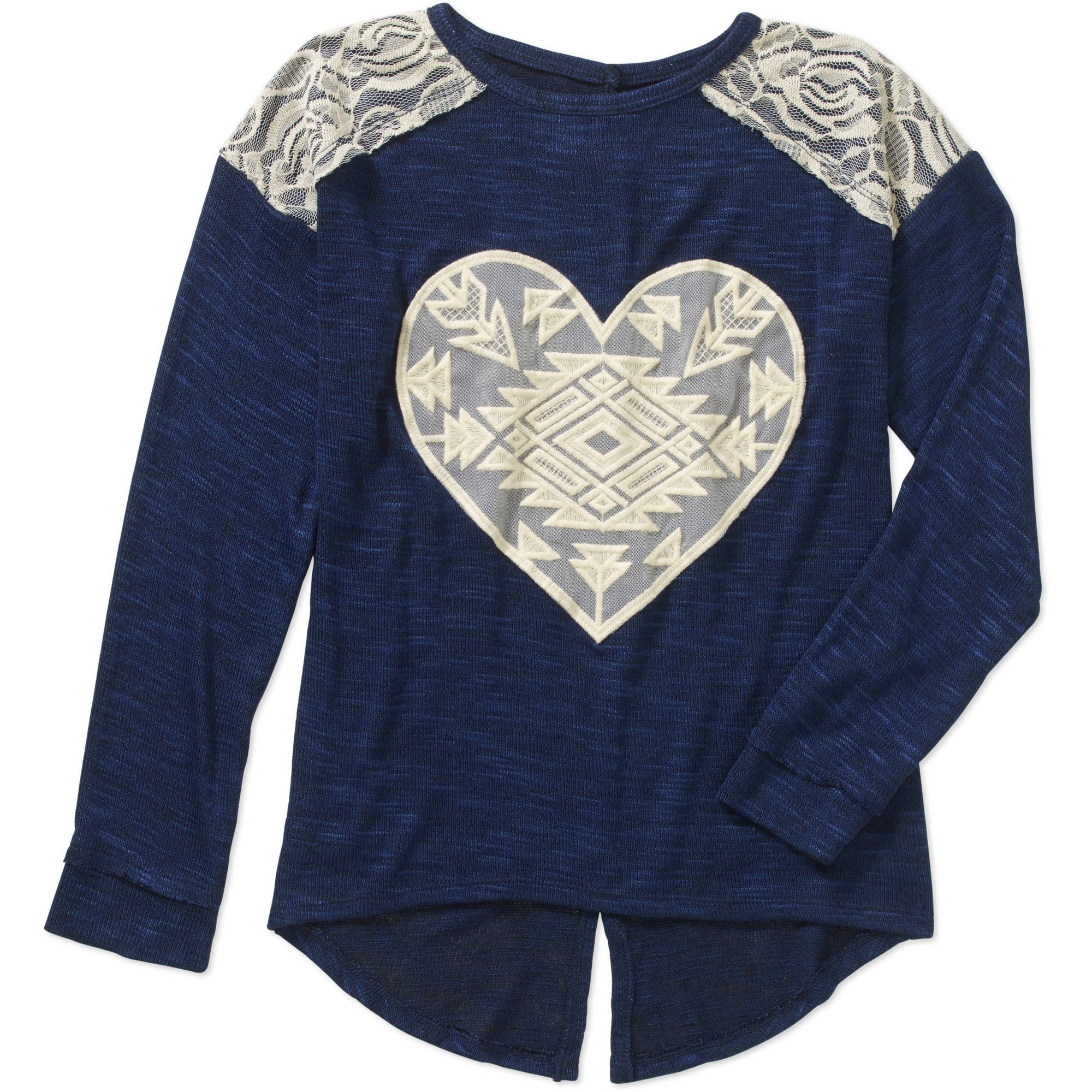 Miss Chievous Girls' Crochet Heart Long Sleeve Ribbed Fasion Top