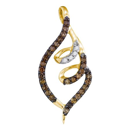 - Chocolate Brown 10K Yellow Gold Spiral Design Necklace Pendant 1/3 Ctw