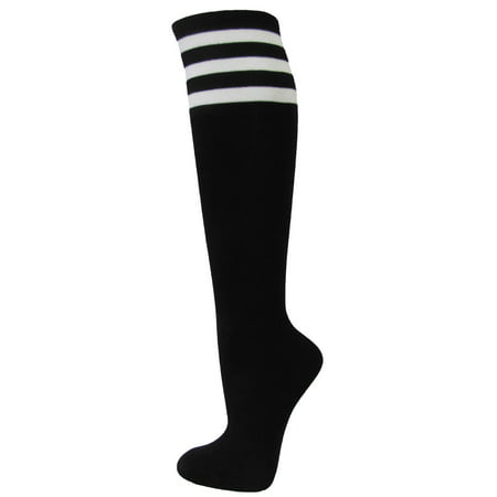 Couver Ladies Girls Vivid Colorful Knee High Fashion Casual Tube Cotton Socks with White Triple Stripes, Black