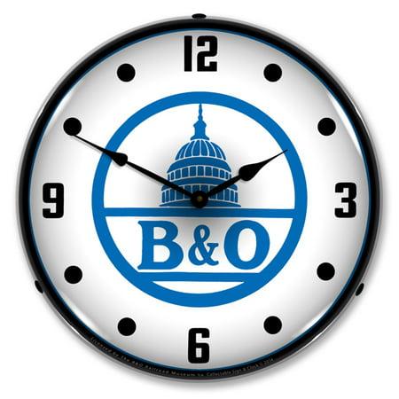 - B&O Railroad, White LED Wall Clock, Retro/Vintage, Lighted, 14 inch