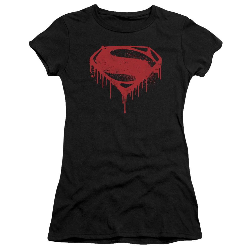 Batman V Superman/Splattered   S/S Junior Sheer   Black      Bvs120C