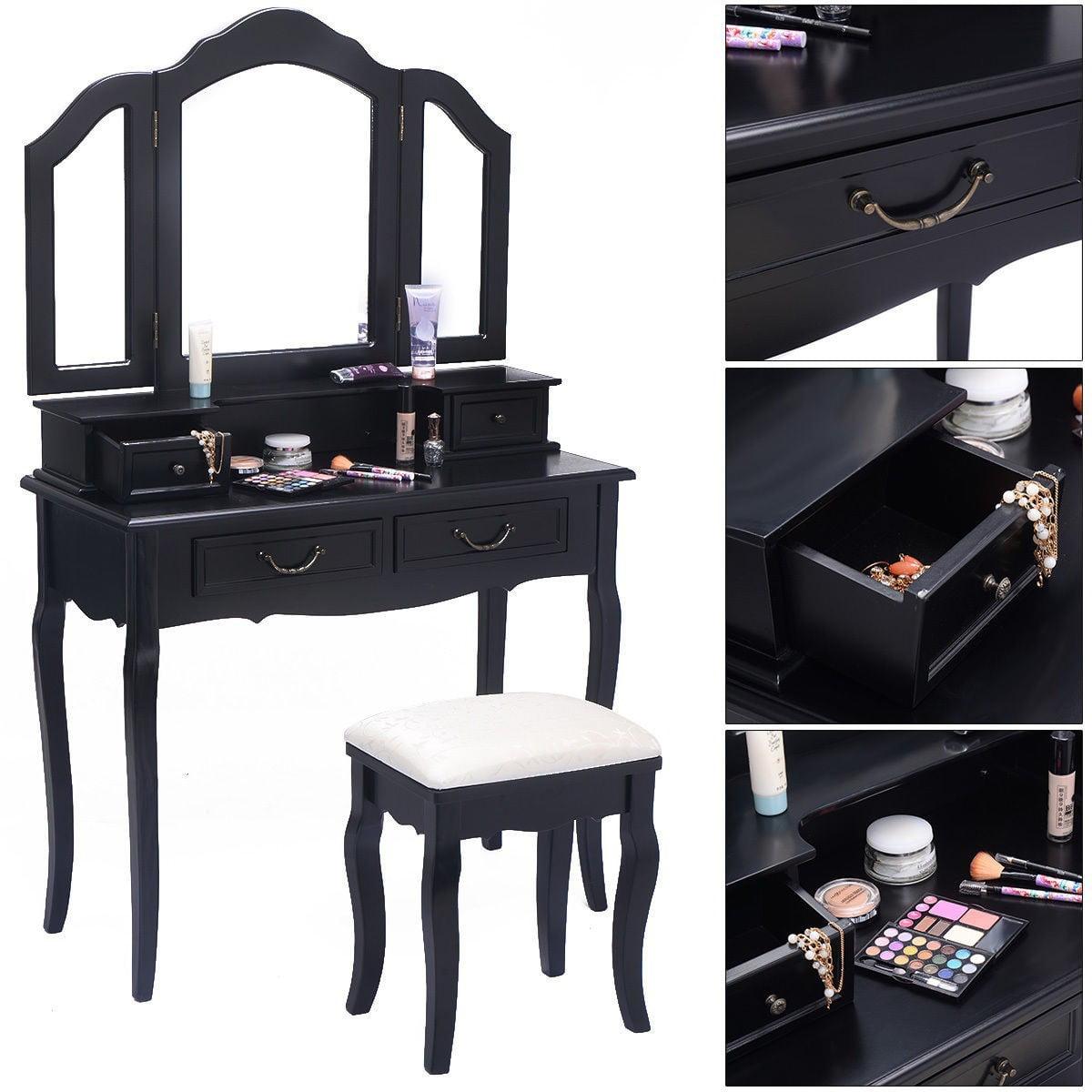 Tri Folding Mirror White Wood Vanity Set Makeup Table Dresser 4 Drawers + Stool Black