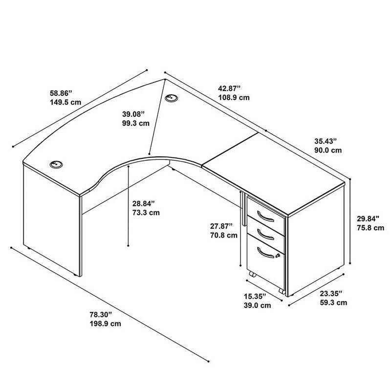"Bush Business Series C 60"" Right 3 Drawer L-Shaped Desk in Mahogany - image 2 de 7"