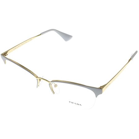 Prada Women Eyeglasses Designer Grey Semi Rimless PR65QV TV31O1 Size: Lens/ Bridge/ Temple: 51-17-140