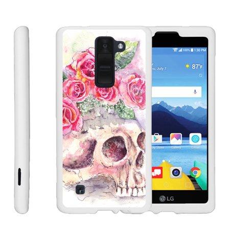 Lg K8v  K8 V  Vs500   Snap Shell  White  Hard White Plastic Case With Non Slip Matte Coating With Custom Designs   Flower Skull