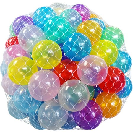 "EWONDERWORLD 2.3"" 100 Count Crush Proof Invisiball Play Pit Balls with Net Bag](Ballpit Balls)"