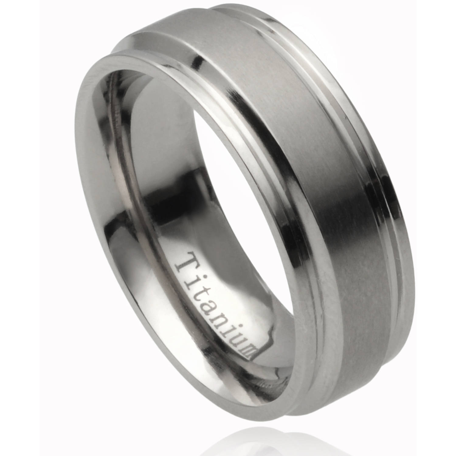Daxx Men's Titanium Polished Tribal Design Band, 8mm