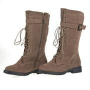 """Women's Lace Up Combat Boots Buckle Vegan Suede Zipper 1"""" Heel Mid-Calf Brown"""