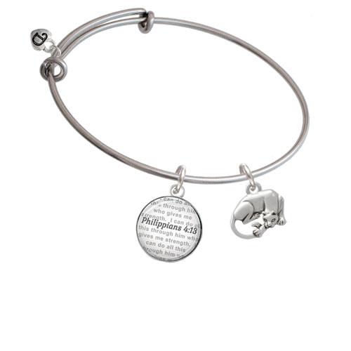 Panther - Bible Verse Philippians 4:13 Glass Dome Bangle Bracelet