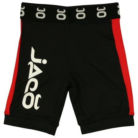 Jaco Mens Vale Tudo Long Fight Shorts - Black/Red - No Fear Fight Shorts