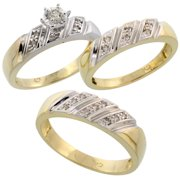 gold plated sterling silver diamond trio wedding ring set his 6mm hers 5mm mens - Wedding Ring Trio Sets