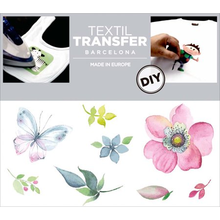 """Textil Transfer Fabric Iron-Ons 2""""X4""""-Floral Design"""