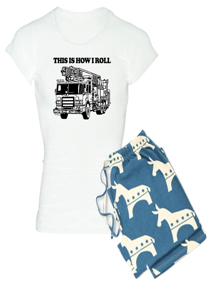 CafePress How I Roll Fire Truck Womens Light Womens PJs