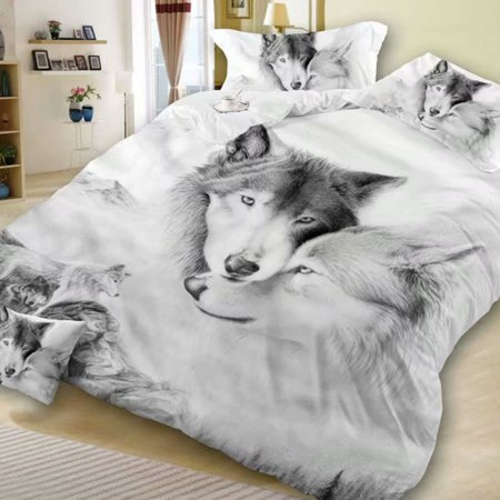 3D Double Wolf Printing Theme Bed Set Quilt Cover Pillowcases Housewarming Gift Decoration 2pcs/3pcs Couple wolf 200X230