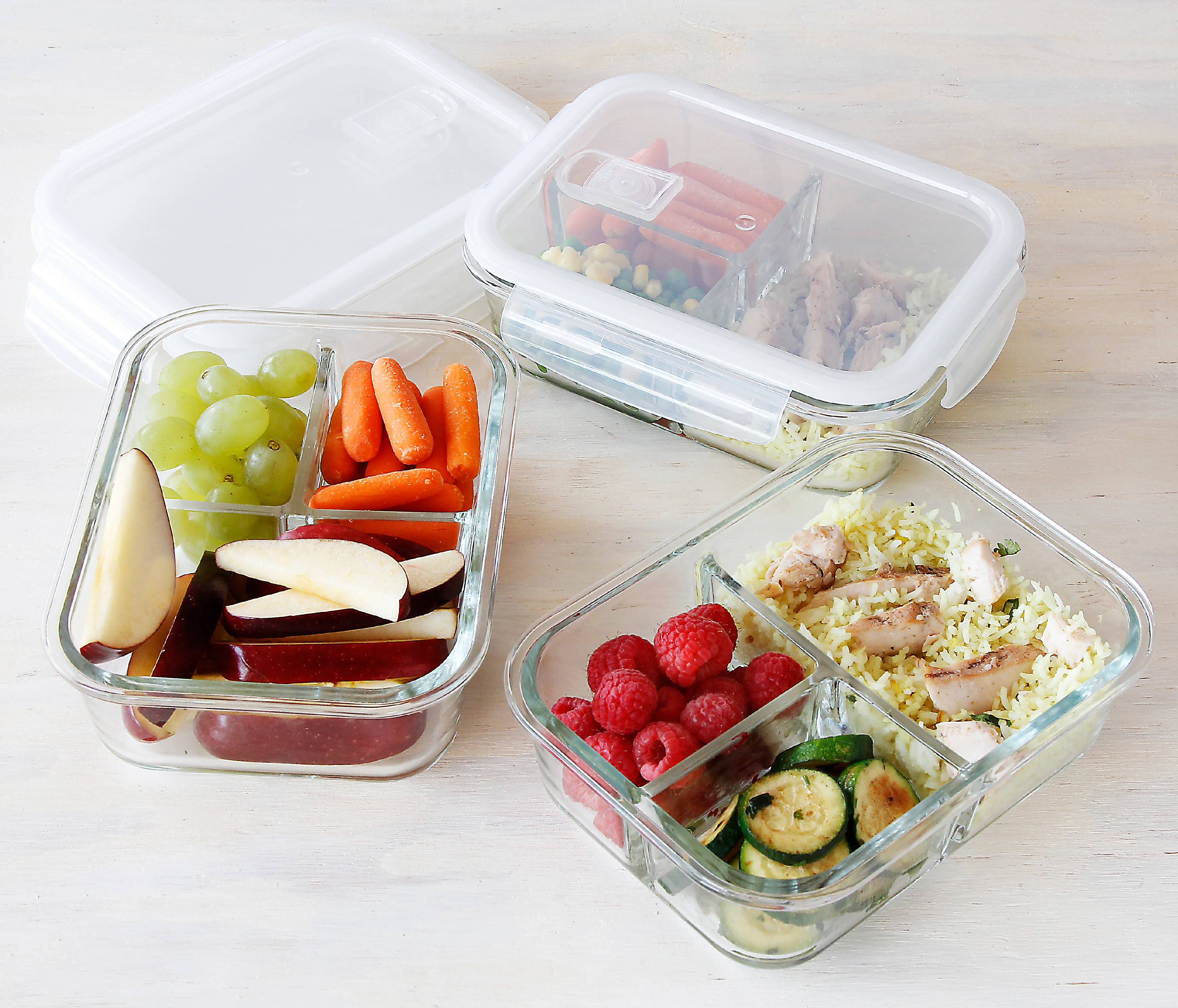 3 compartment glass meal prep portion control food storage containers with lids bpa free
