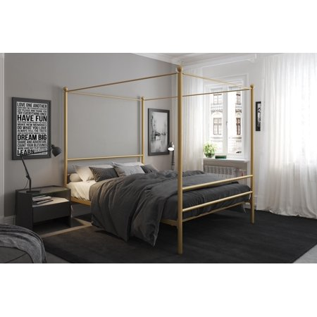 Mainstays metal canopy bed gold - Black canopy bed curtains ...